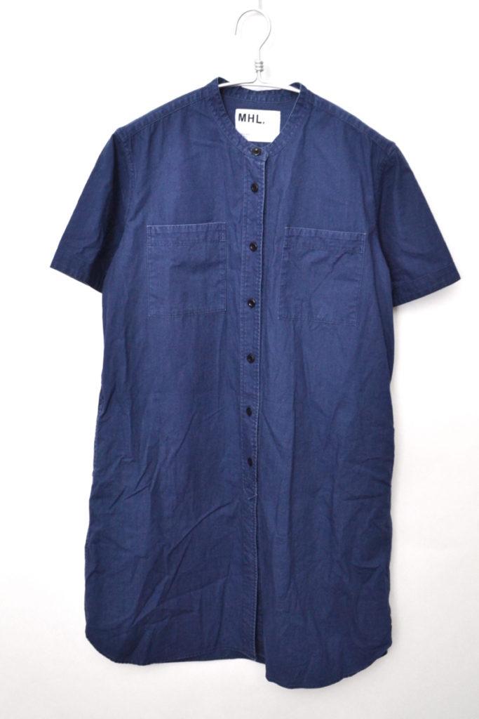 2016/コットンバンドカラー ワークシャツ ワンピース