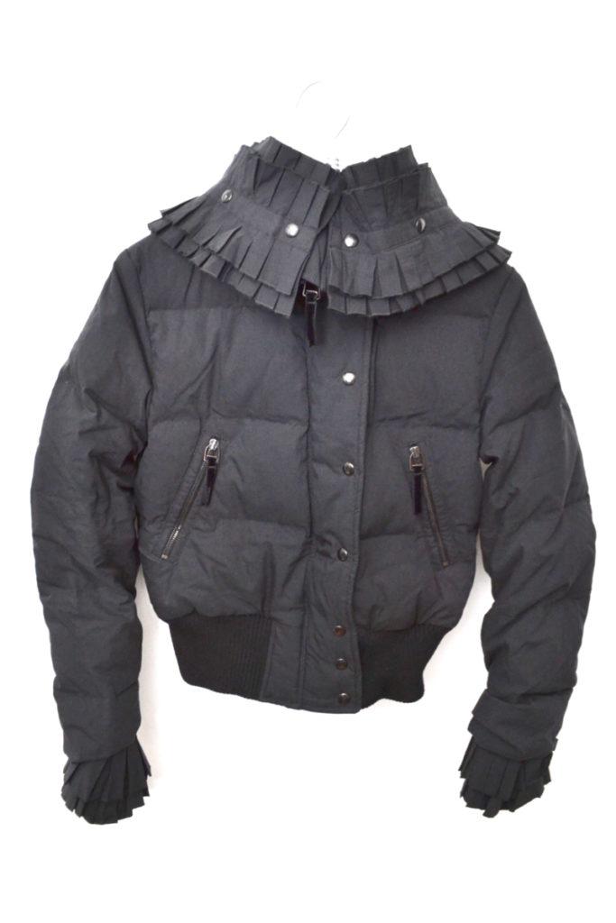襟 袖フリル 中綿ジャケット