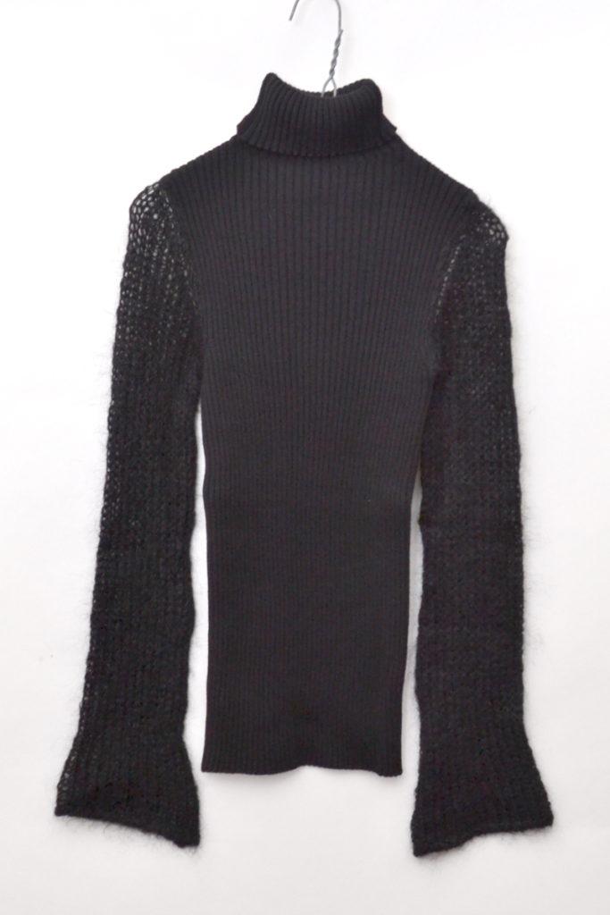 袖切替 リブニットセーター