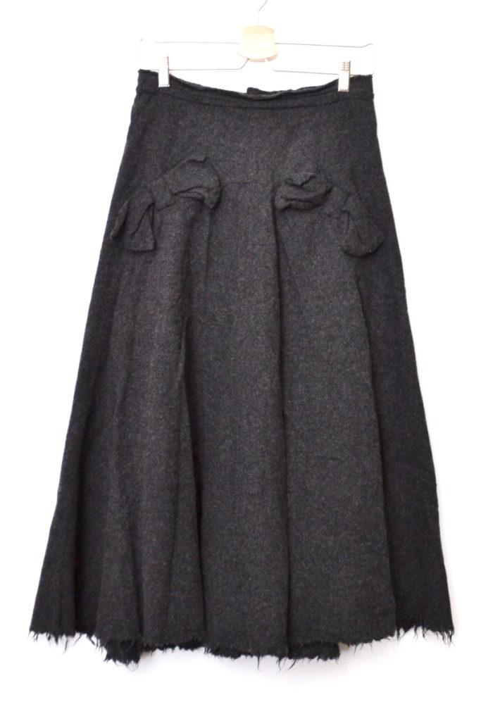 AD2003 03AW/縮絨ウール リボン カットオフ スカート