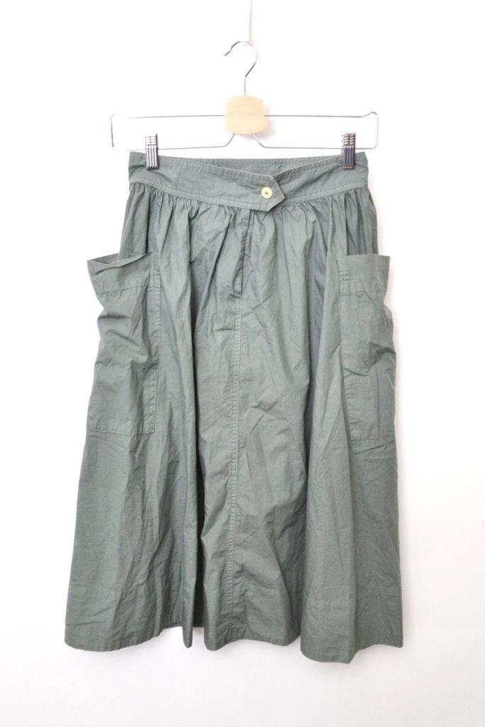 コットンポプリン サイドポケット ギャザースカート