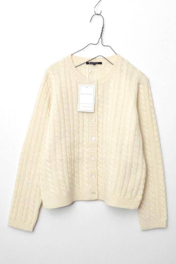 カシミヤ混紡 ケーブル編み ニット カーディガン