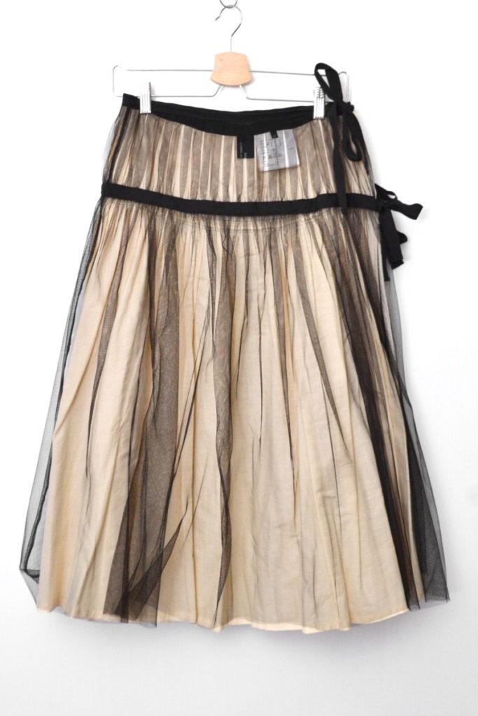 AD2006 07SS/ コットン チュール切り替え 巻きスカート