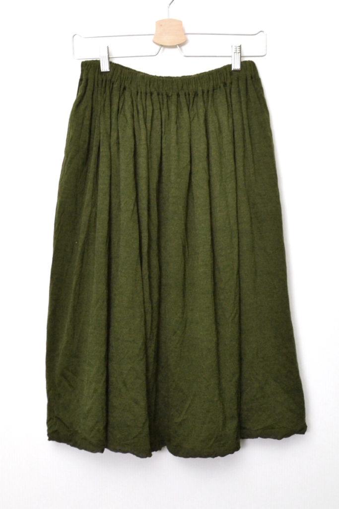 AD2008 08AW/ウール製品染め ウエストゴム ギャザースカート
