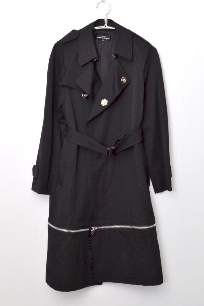 AD2004 04AW/ウールギャバジン フロントスナップ 裾ジップ トレンチコート