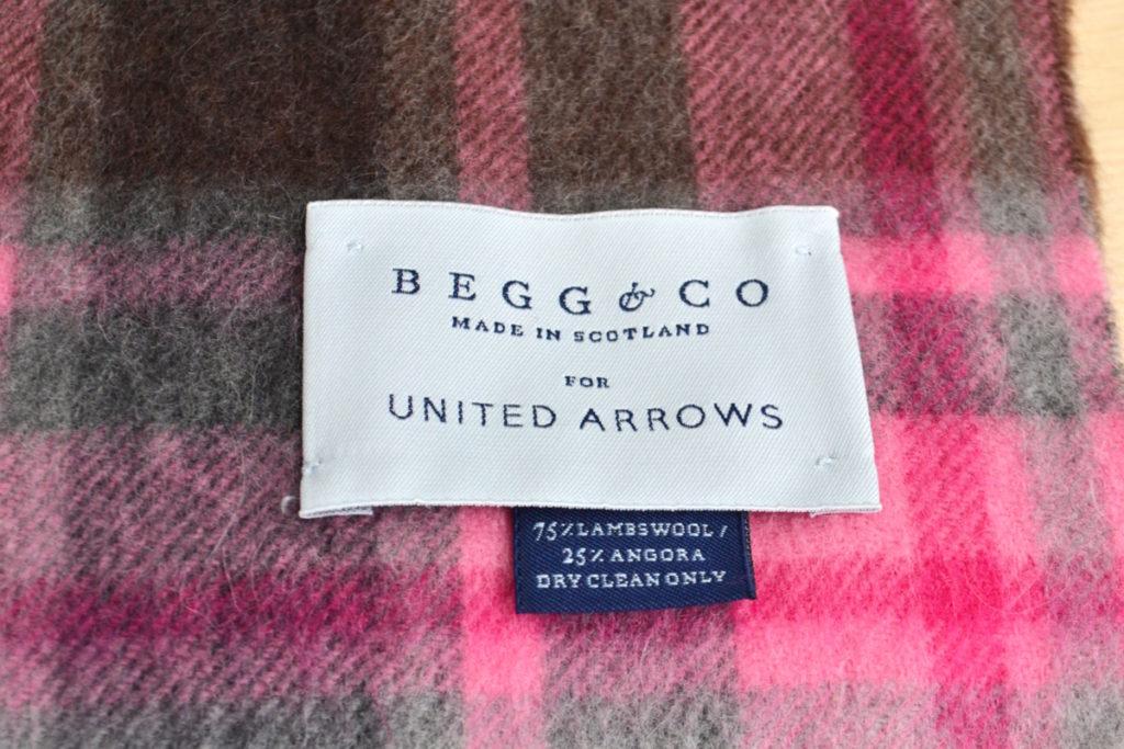 ×BEGG&CO ◆ フリンジ チェック ウール アンゴラ混 マフラーの買取実績画像