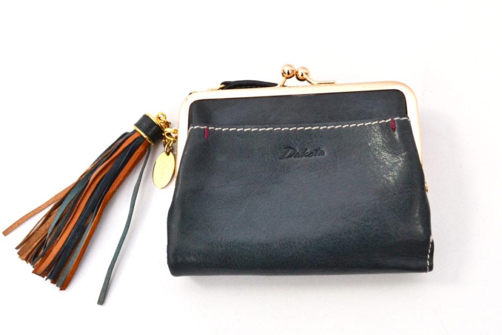 アプローズ イタリア製 牛革 タッセル チャーム ガマ口 二つ折り 財布