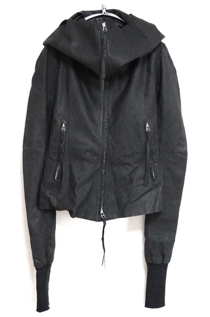 ダブルジップ ピッグレザー フード付きジャケット