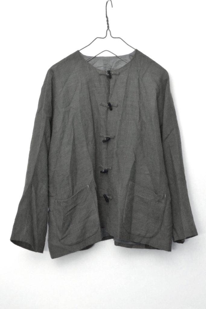ウール100% ノーカラー ココナッツボタン ジャケット 甘撚りウール