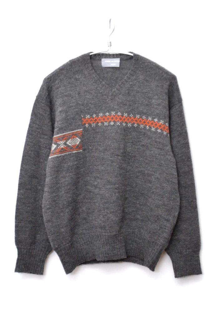 AD1997/ ウールVネック 柄ずらしニットセーター