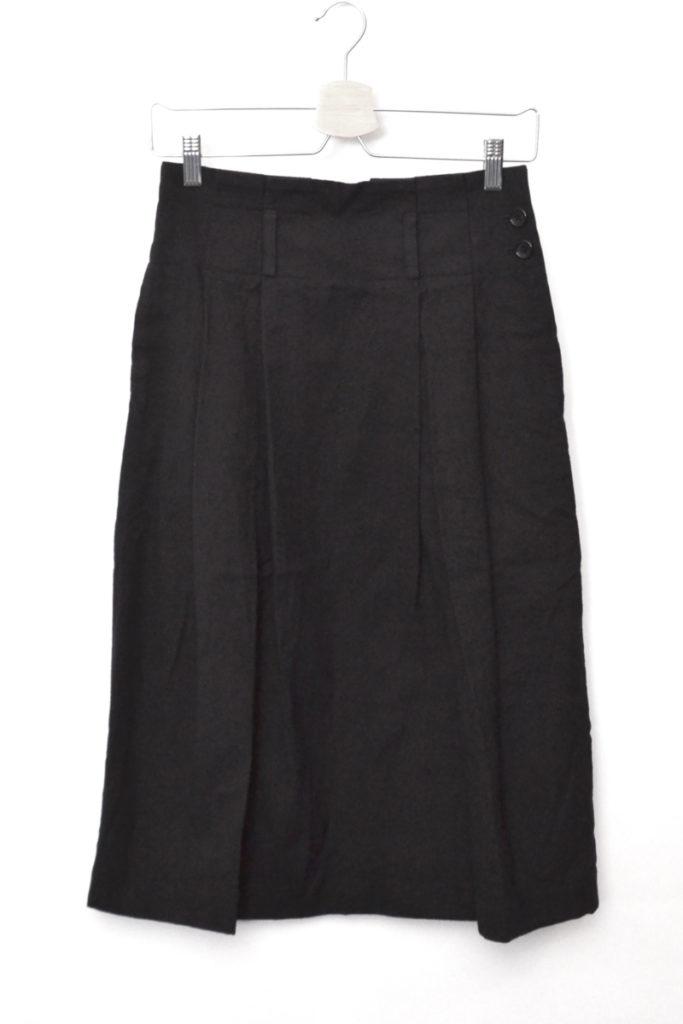 ウール コットン サイドボタン タック スカート