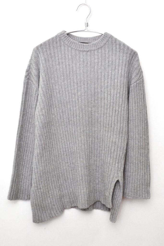 5G Crew Neck Knit Sweater リブ編み サイドスリット ニットセーター
