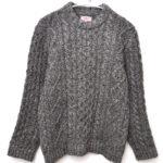 ケーブル編み アランニット クルーネックセーター