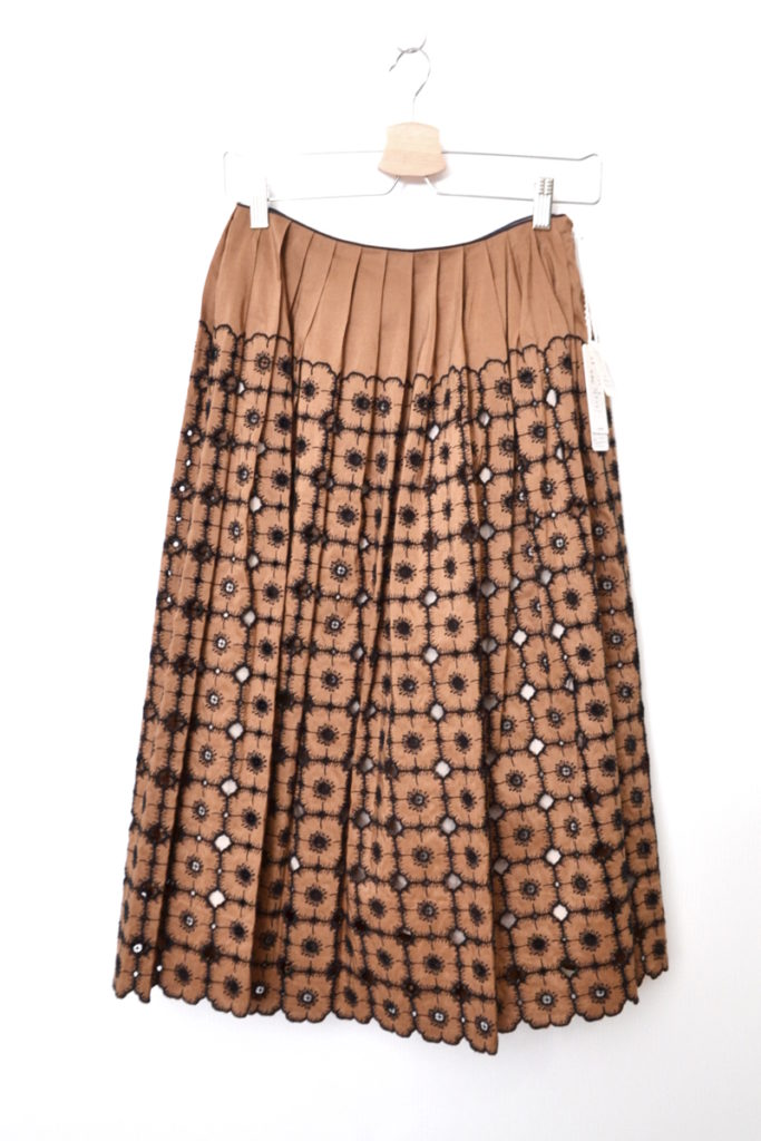 2019SS/anemone シルク混 花柄 刺繍 ボリューム フレアスカート