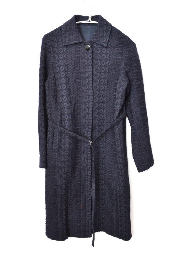 ウール混 総柄 刺繍 ベルト 付き コート