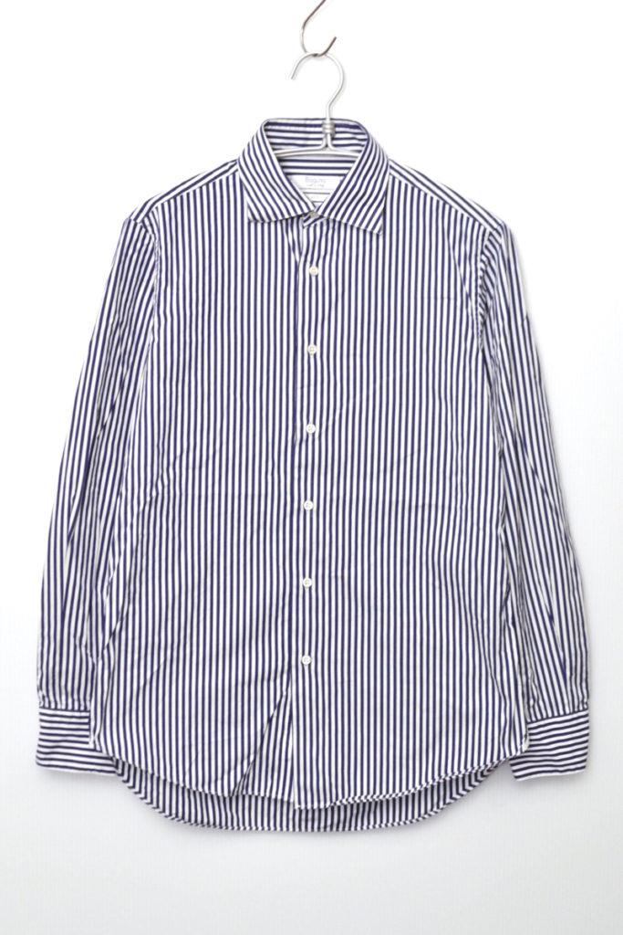 コットンポプリン ストライプ ワイドカラーシャツ