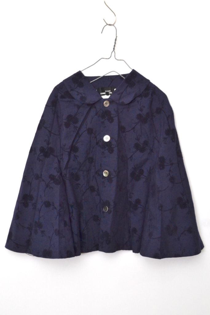 AD2002/ 丸襟 ウール 花柄刺繍 フレアスリーブジャケット