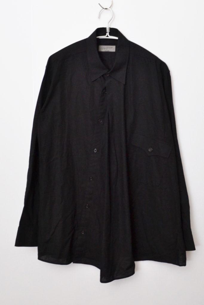 斜めボタン コットン ロングシャツ