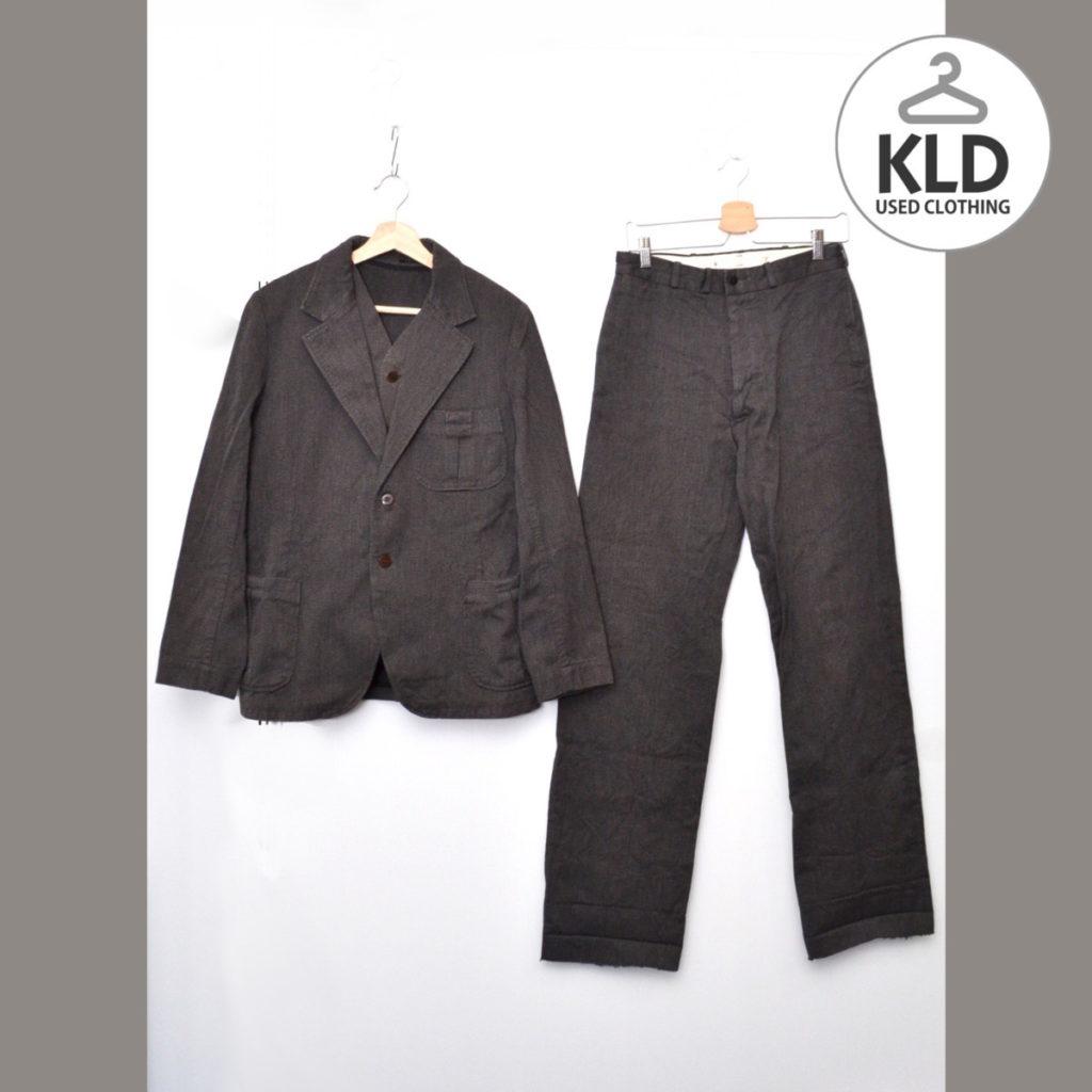 黒杢コットン 3ピース 1930s セットアップ ジャケット ベスト パンツ