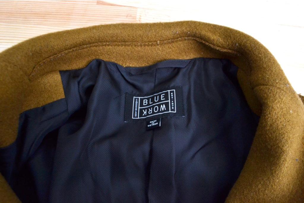 BLUE WORK/ダブルメルトン チェスター フィールド コートの買取実績画像