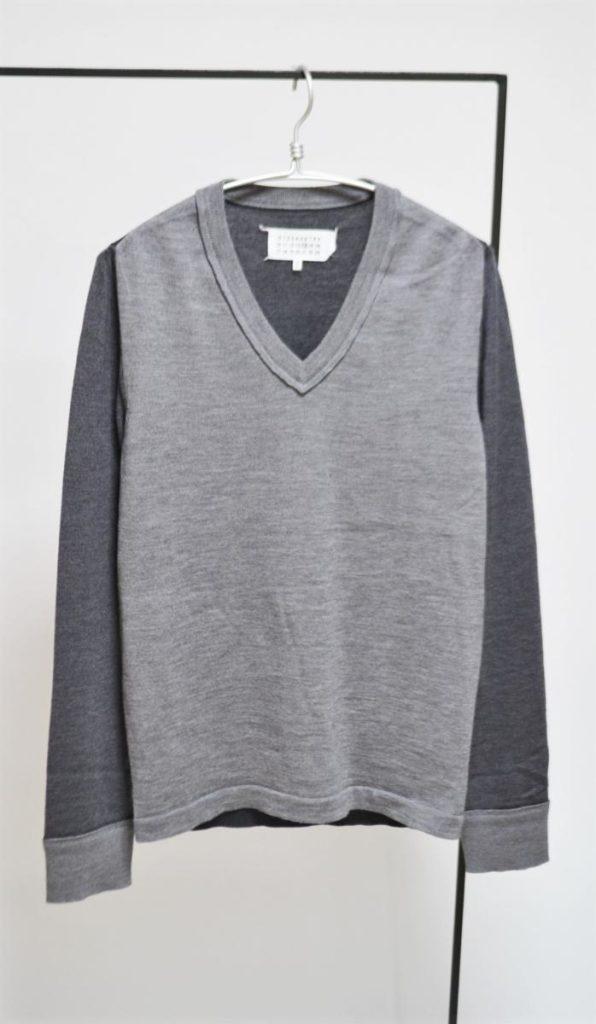 2015AW/ ウール 切替 Vネック ニット セーター