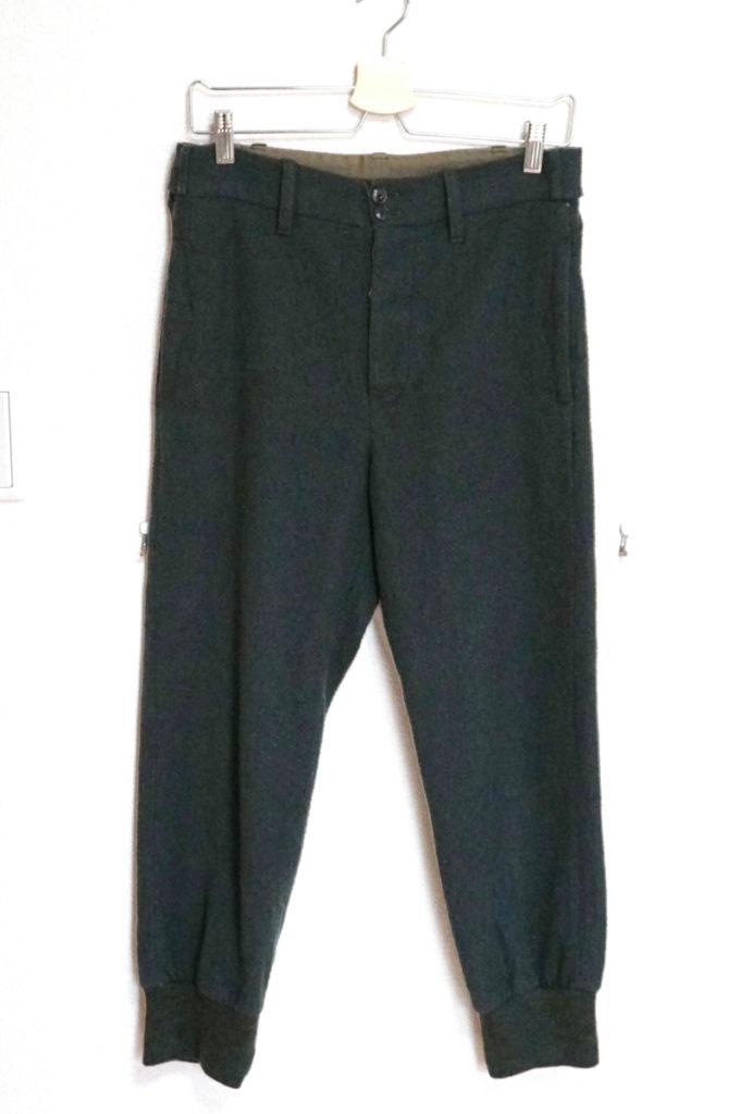 ウール裾リブ パンツ ジョガーパンツ