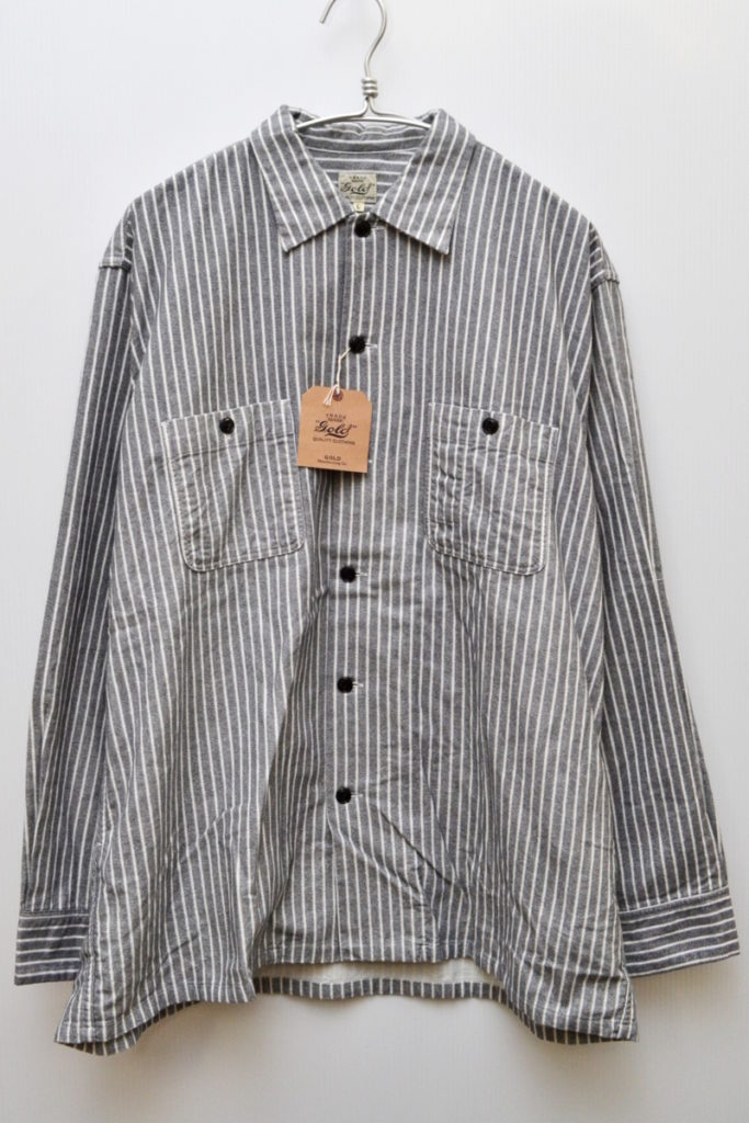 COTTON FLANNEL TWILL STRIPE PRINT REGULAR COLLAR SHIRT フランネルシャツ