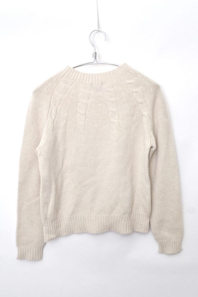 ウールキャメル ケーブル編みニット セーター