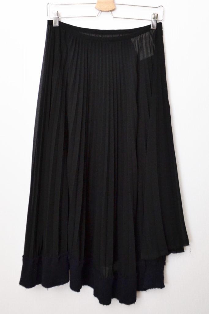 02AW/ シースルー プリーツ 裾リブ スカート