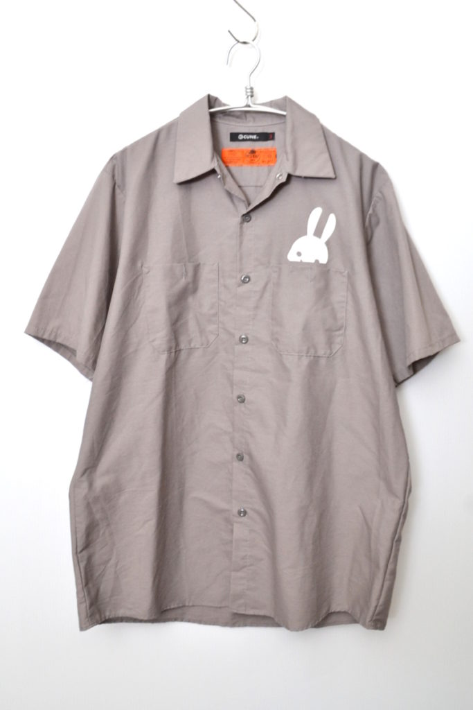 radish ウサギ 大根 バックプリント 半袖 ワークシャツ