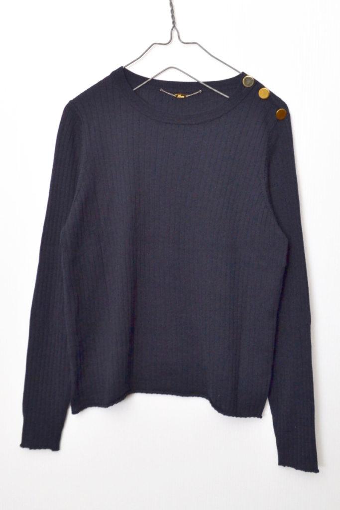 ウール シルク 肩 金ボタン クルーネック リブ ニット セーター
