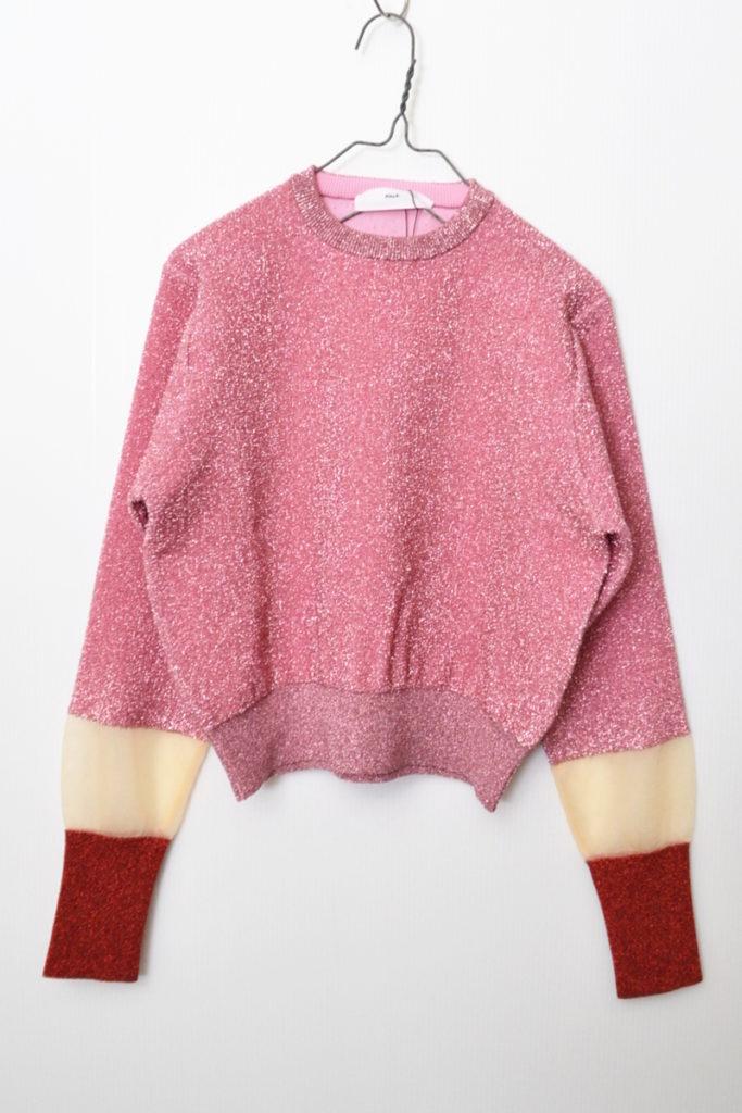 Lame knit pullover ラメ 切替 ニット プルオーバー