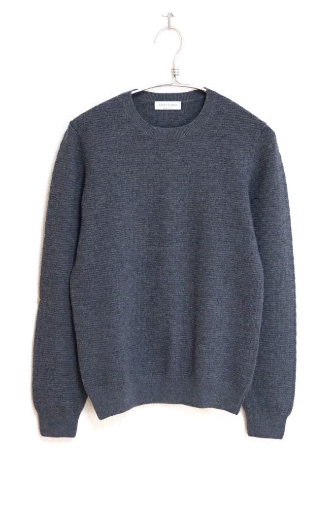 立体編み柄 クルーネックニット セーター