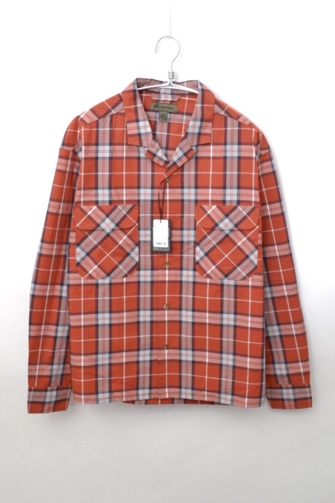 OPEN COLLARED SHIRT LONG SLEEVE チェックオープンカラーシャツ