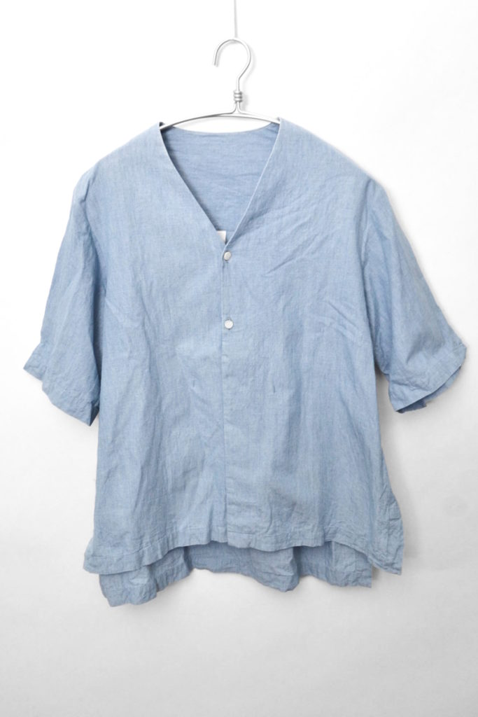 2015SS/コットンリネン Vネック ノーカラーシャツの買取実績画像