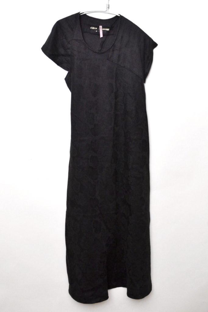 AD1992 1stコレクション/リネン ブドウ織り柄 アシンメトリーワンピース