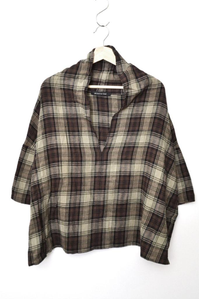 チェック柄 幅広 プルオーバー シャツ
