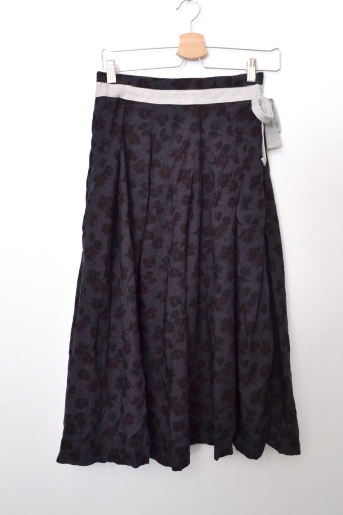 AD2006 06AW/ウール 花柄 ラップ風 スカート