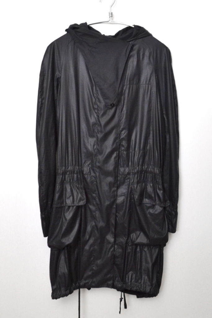 ポリエステル 変形デザイン フード付きロングジャケット モッズコート