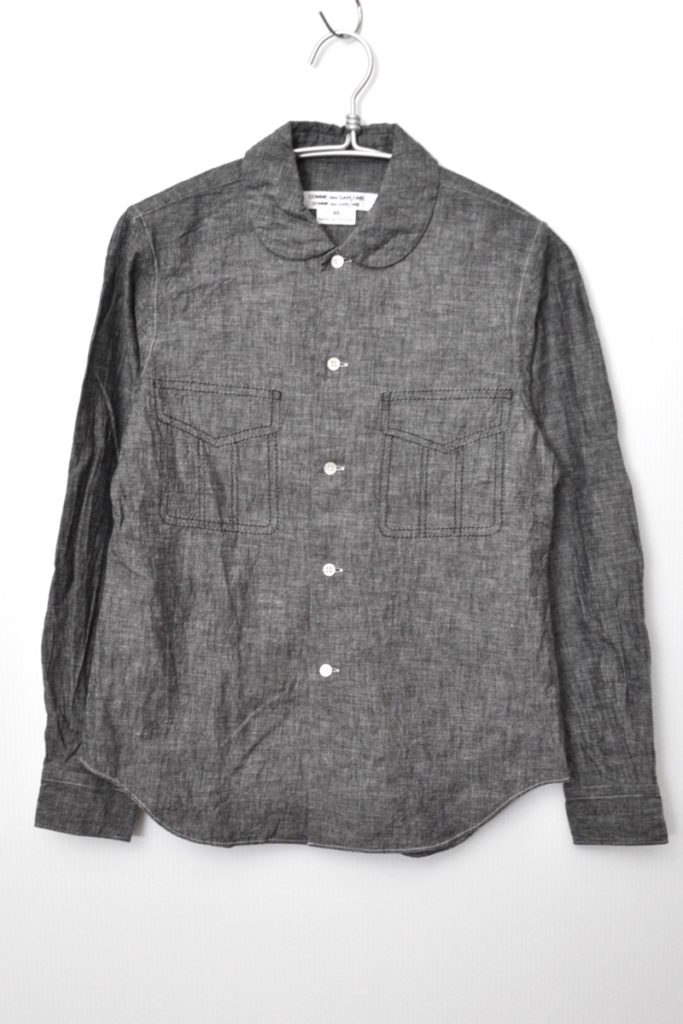 AD2014 15SS/丸襟 シャンブレー フェイクポケットシャツ