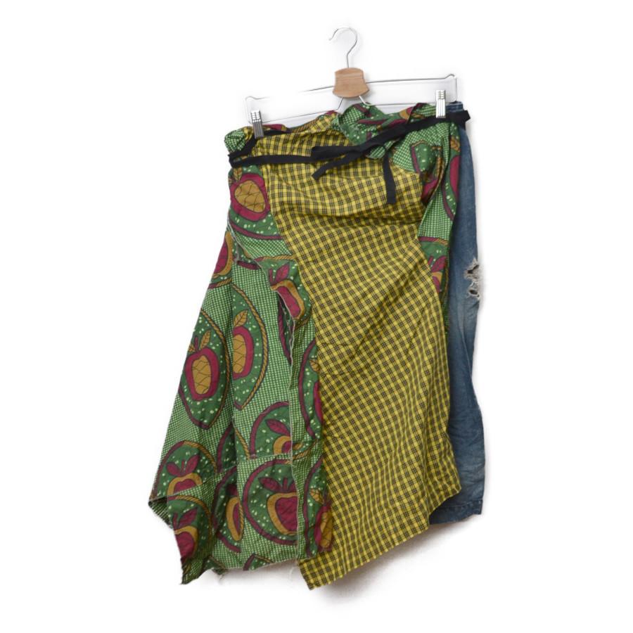 AD2008 09SS/チェック デニム 切替 ラップ 巻き スカートの買取実績画像