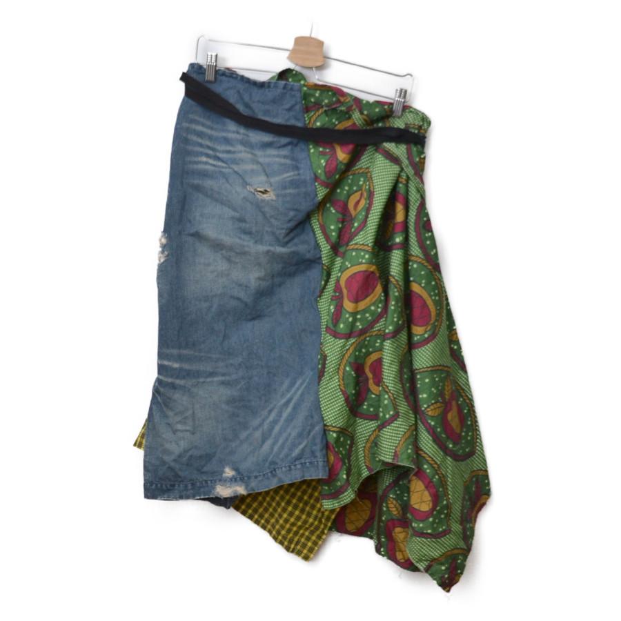 AD2008 09SS/チェック デニム 切替 ラップ 巻き スカート