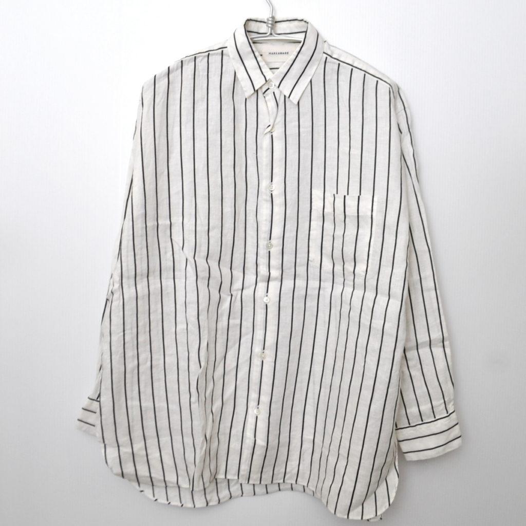 2019SS/ COMFORT FIT SHIRTS ORGANIC LINEN PRINTED STRIPE リネン ストライプ シャツ