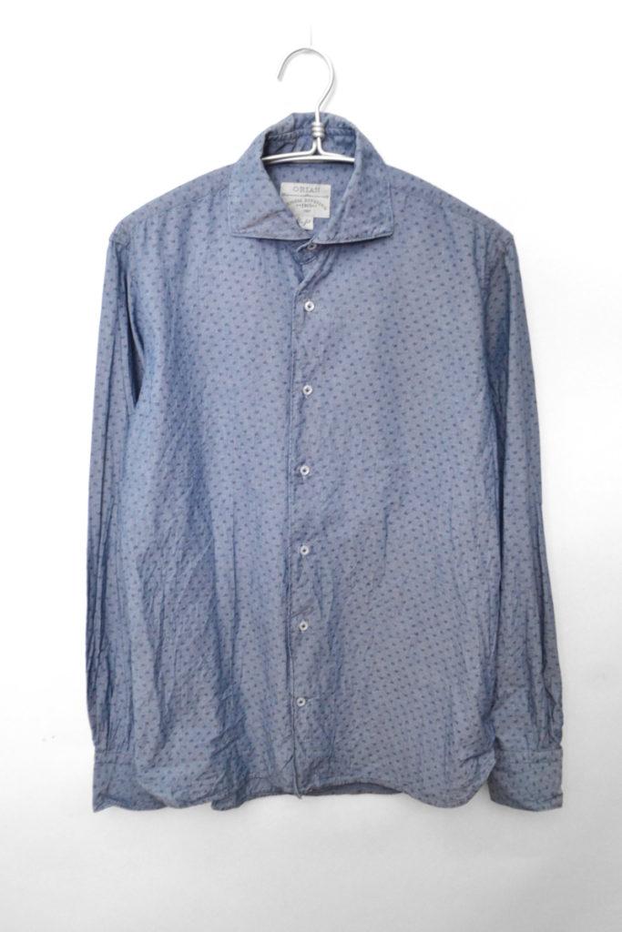 ワイドカラー 総柄 シャンブレーシャツ