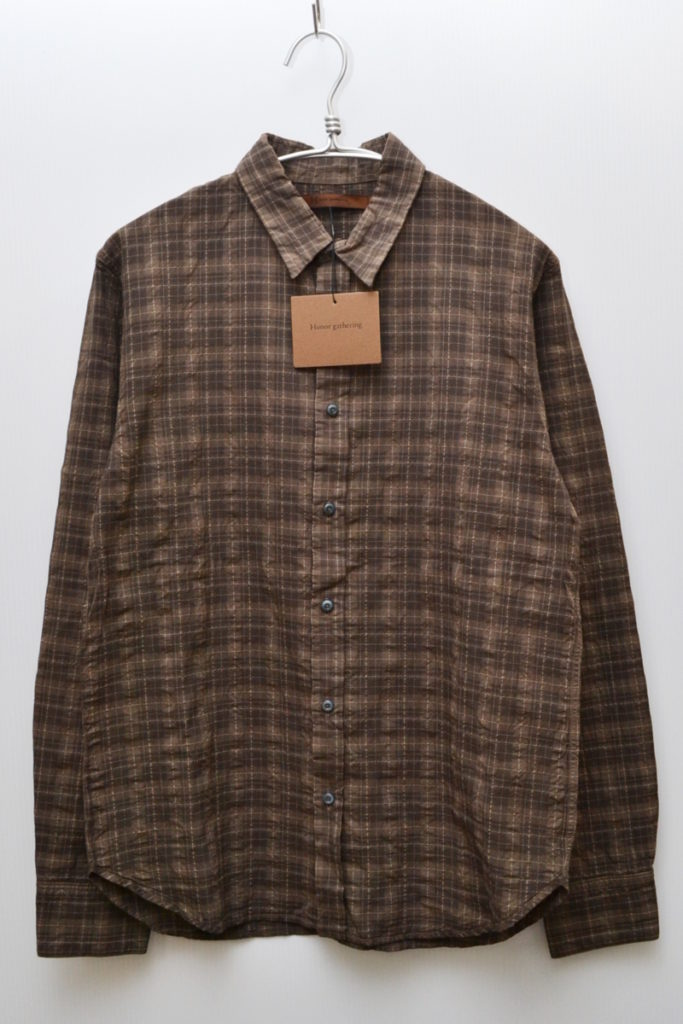 2014SS/original seer sucker check over dye finish シアサッカー シャツ