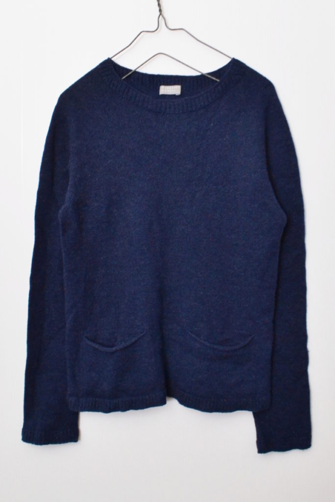 ウール クルーネック ポケット付き ニット セーター