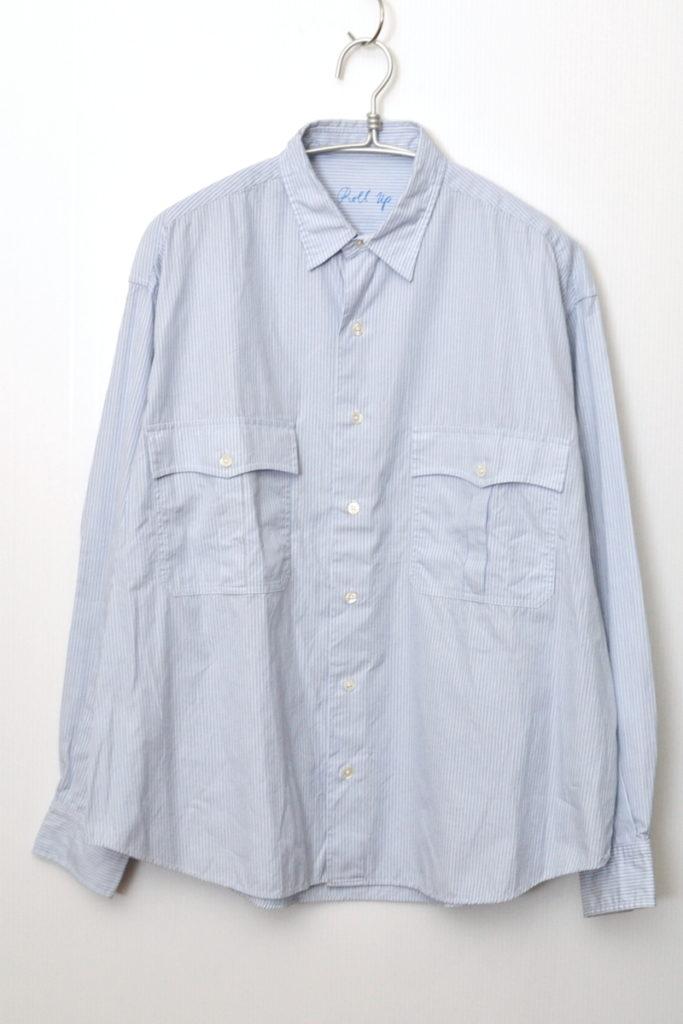 ROLL UP STRIPE SHIRT ブルーストライプ ロールアップシャツ