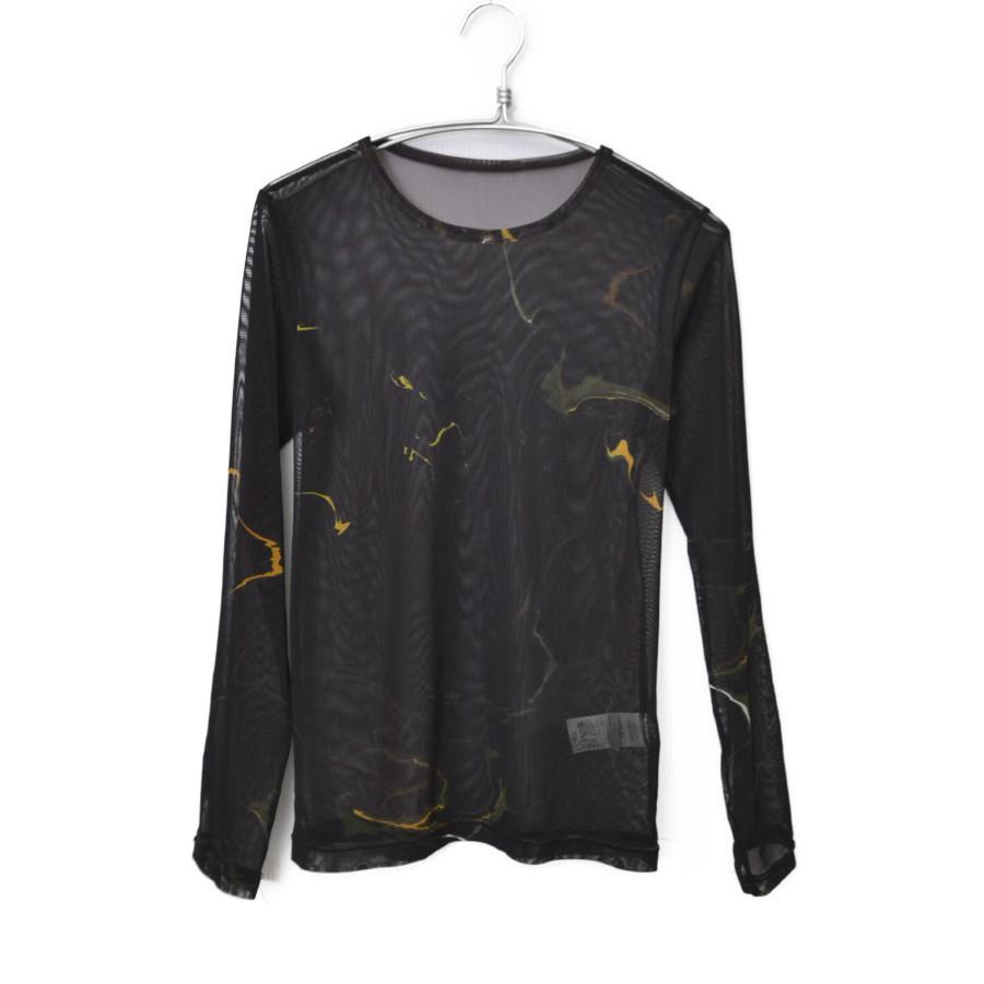 2020SS/ポリエステルチュール墨流インクジェットプリント 長袖Tシャツ