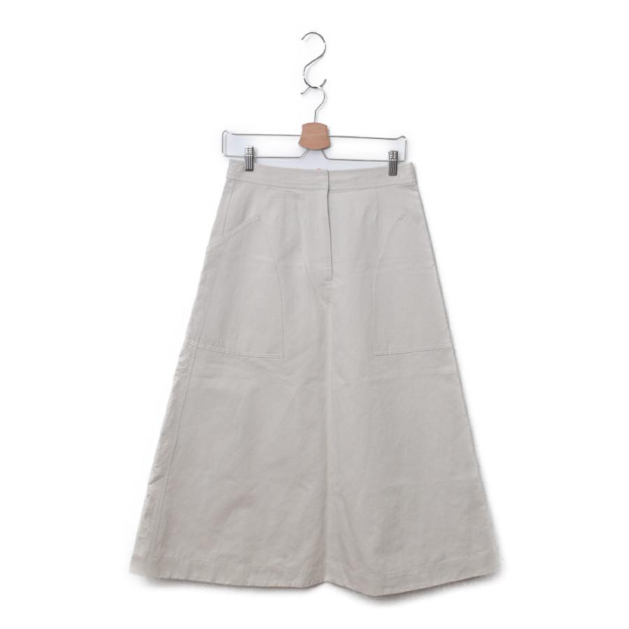 2019SS/ 綿麻ラチネ パッチ ポケット フレア スカート