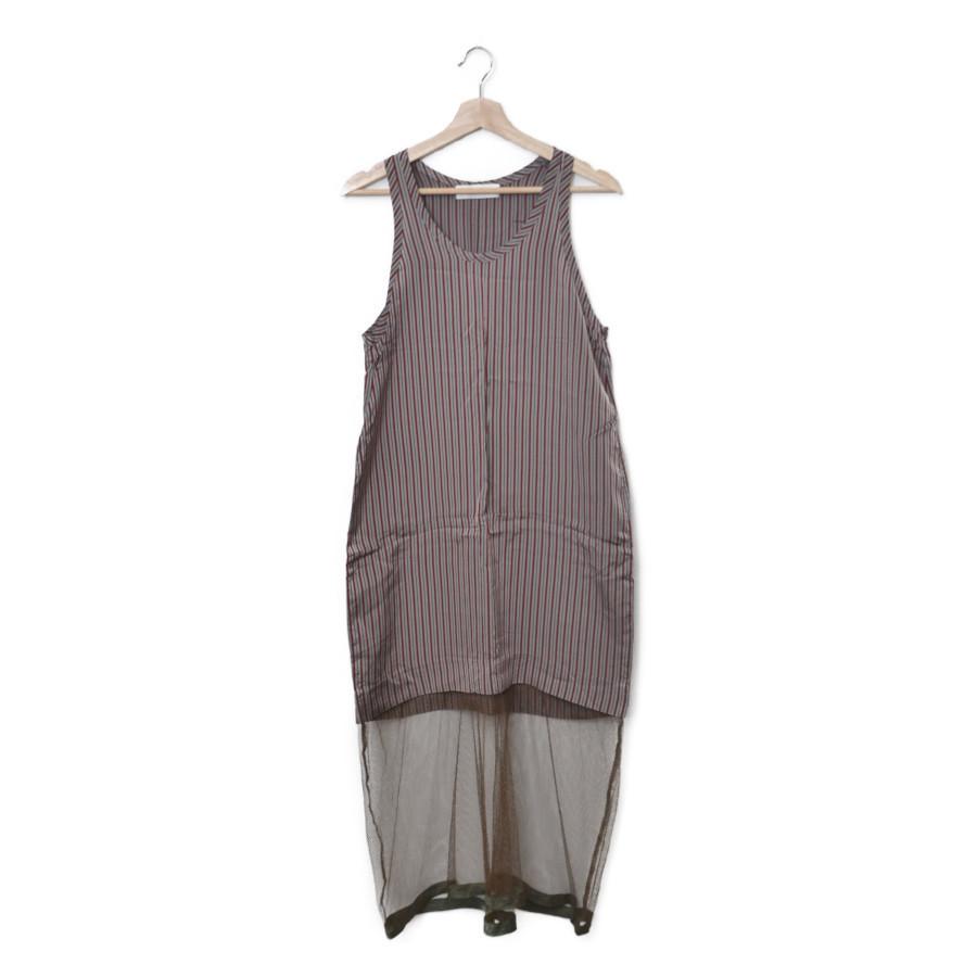 2014AW/Inner dress メッシュ切替 ストライプ インナー ワンピース